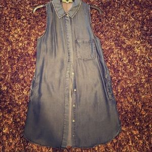 Nordstrom Distressed Style Chambray Denim Dress S